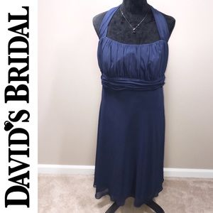 David's Bridal Navy Halter Chiffon Dress Sz. 18